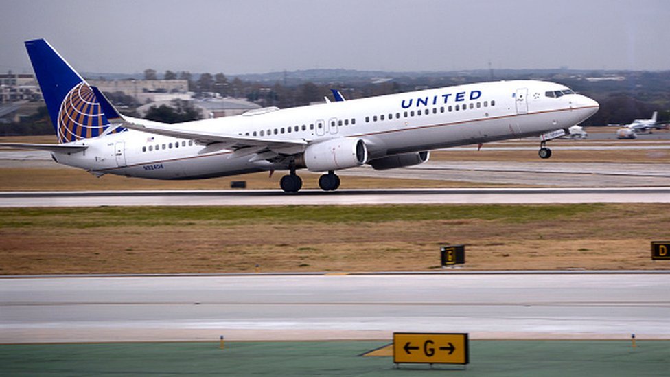A United Airlines flight taking off
