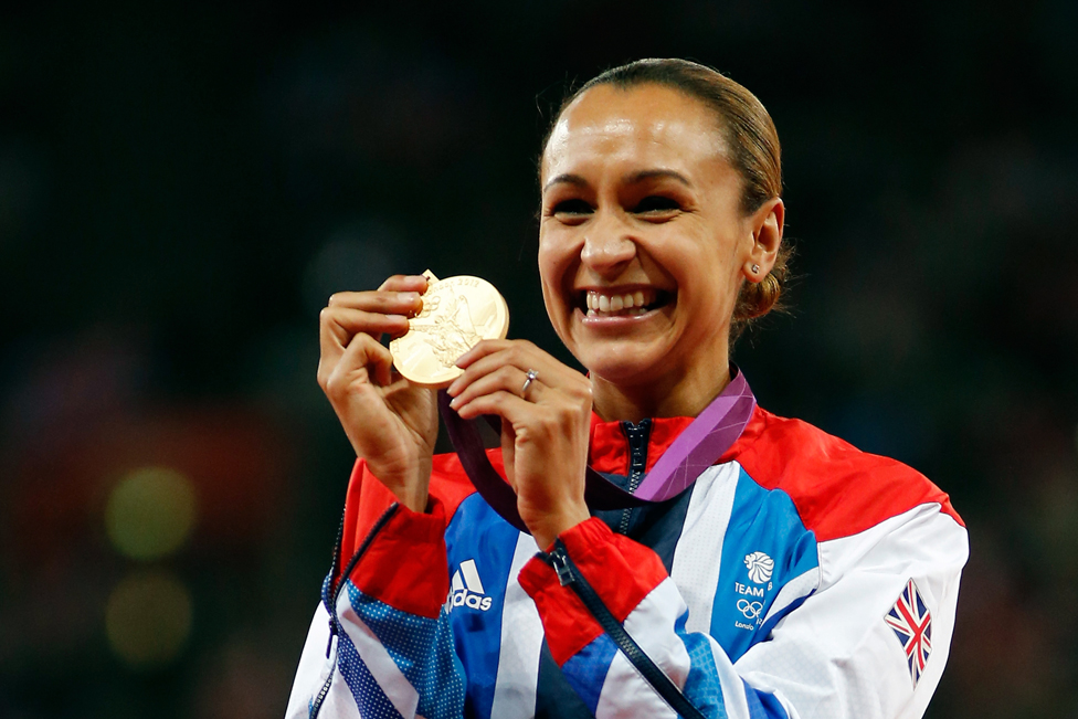 Gold medallist Jessica Ennis of Great Britain poses on the podium during the medal ceremony for Women's Heptathlon on Day 8 of the London 2012 Olympic Games at Olympic Stadium on August 4, 2012 in London, England.
