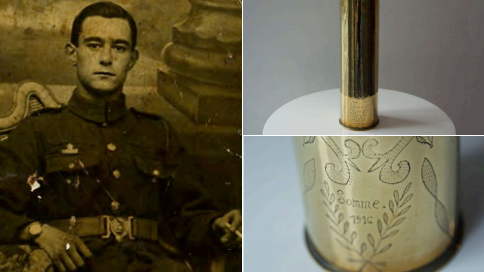 Walter Smewing the artist's great grandfather with the engraved brass bombshell he made on the Somme