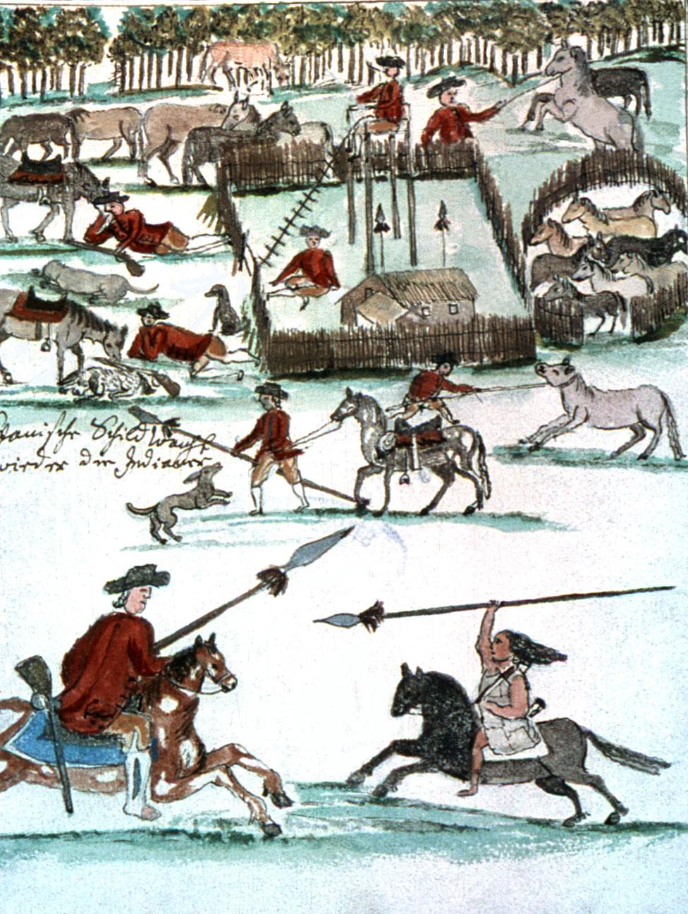 Soldados hispanoamericanos dispuestos a luchar contra los indios, dibujados por el jesuita Florian Baucke.