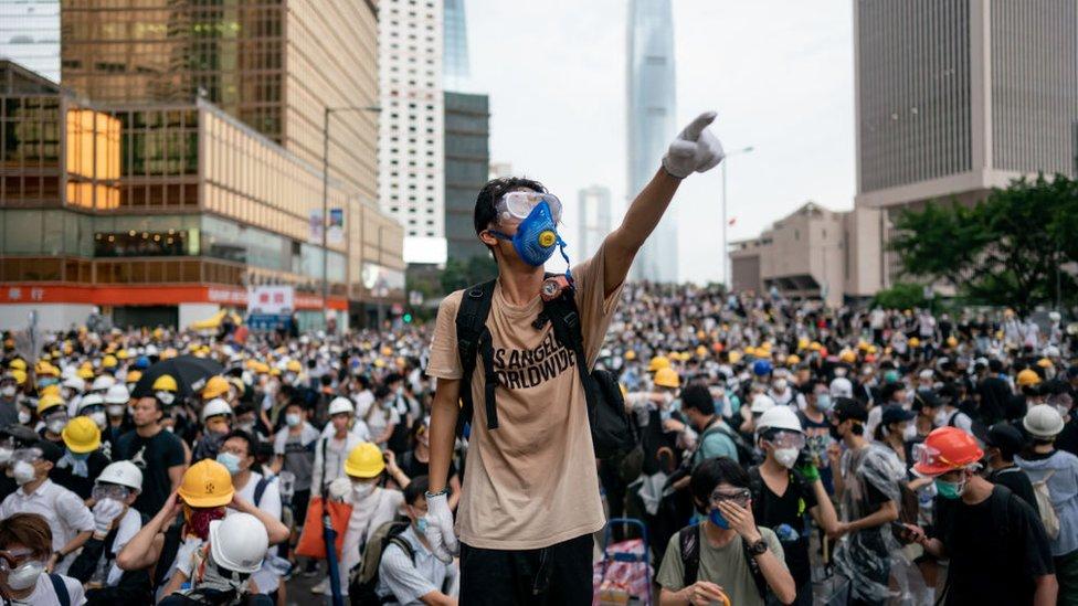 Protesta en Hong Kong.