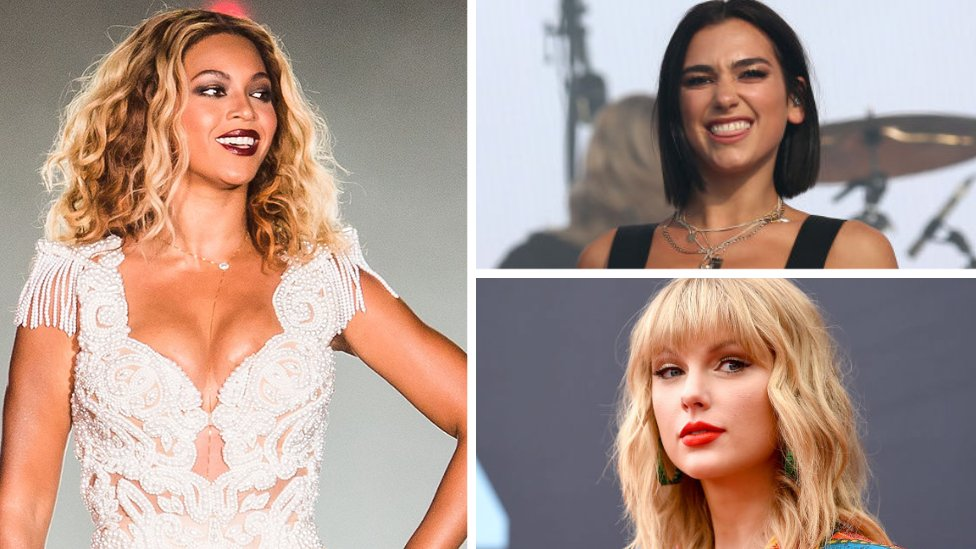 Beyoncé, Dua Lipa and Taylor Swift