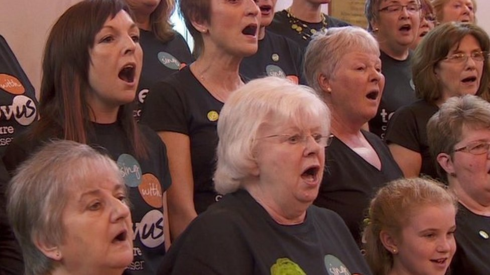 People signing in a choir