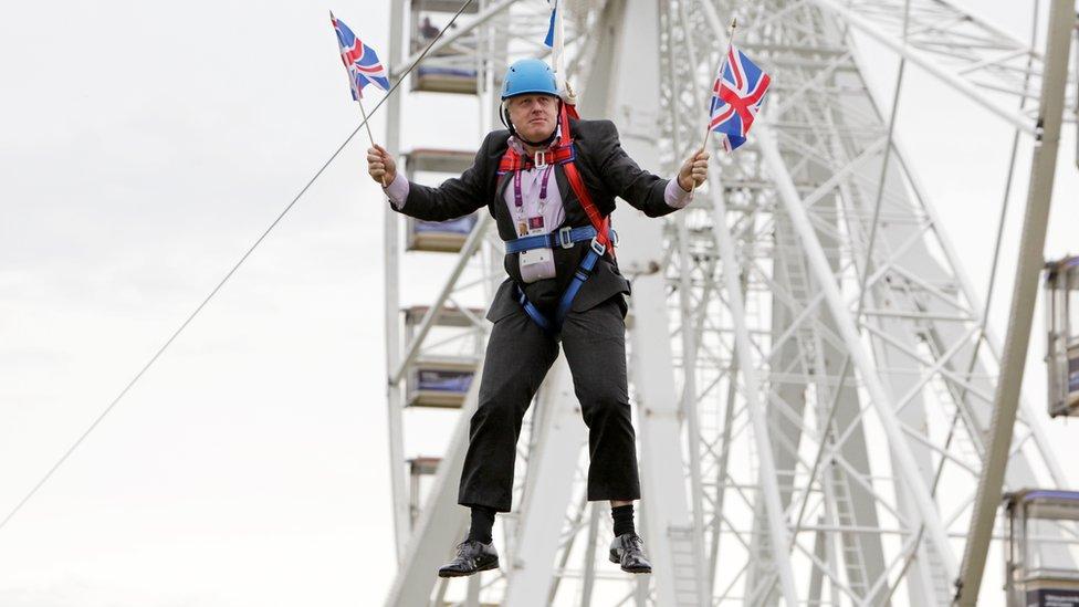 Boris on zipwire during London Olympics