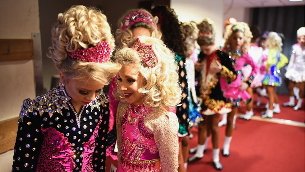 Dancers queuing before the competition