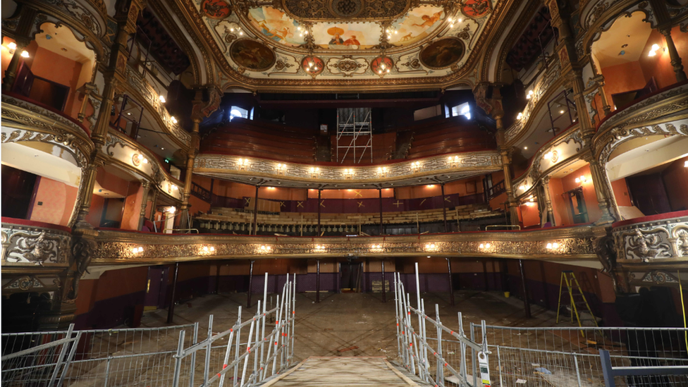 Scaffold and building material inside the Grand Opera House auditorium