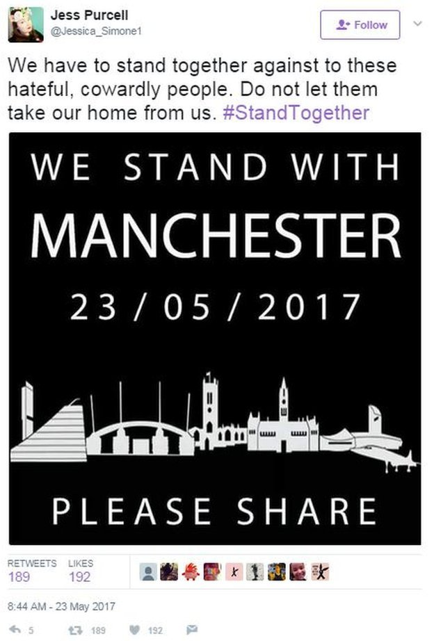 """Tweet by Jess Purcell: """"We have to stand together against these hateful cowardly people."""""""