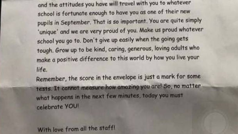 The letter communicated to pupils that the kind of person they are is more important than the results they receive