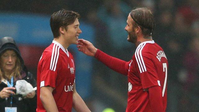 David and Brooklyn Beckham at Old Trafford