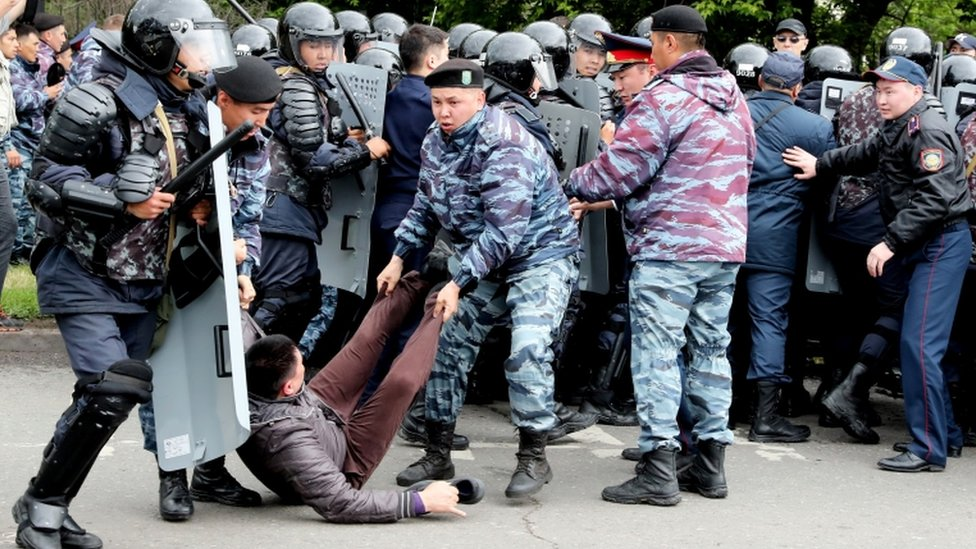 Protesters clash with police in Nur-Sultan
