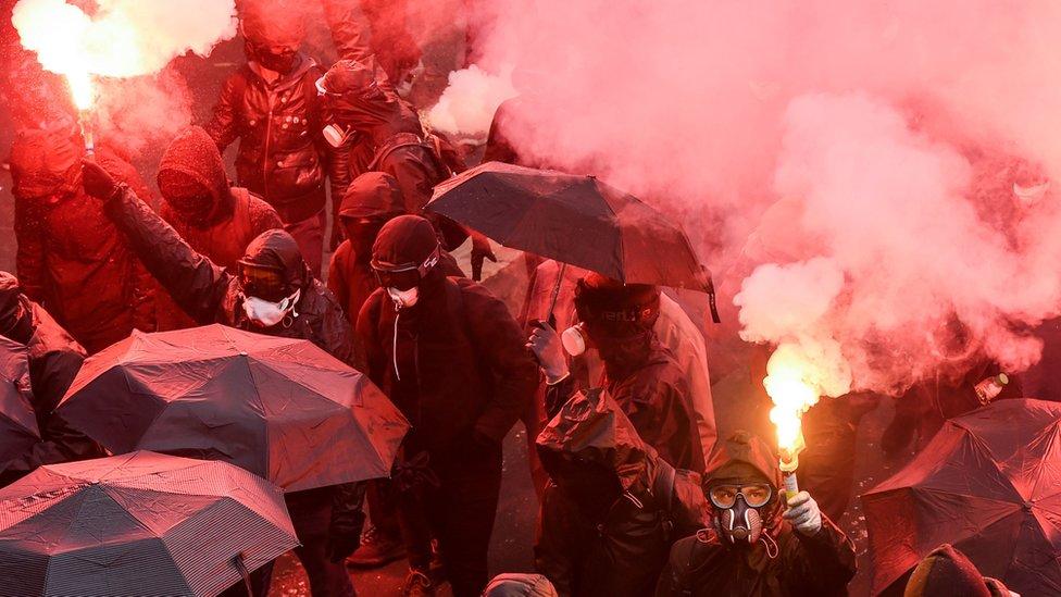 Manifestantes en la ciudad de Nantes
