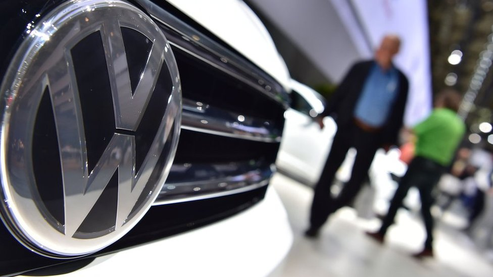 A Volkswagen logo on a VW Tiguan, 2016