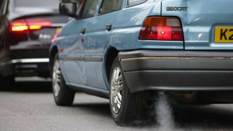 Fumes from car exhaust