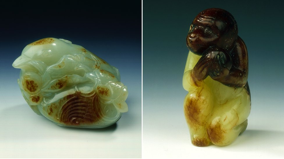 Jade mandarin duck and monkey