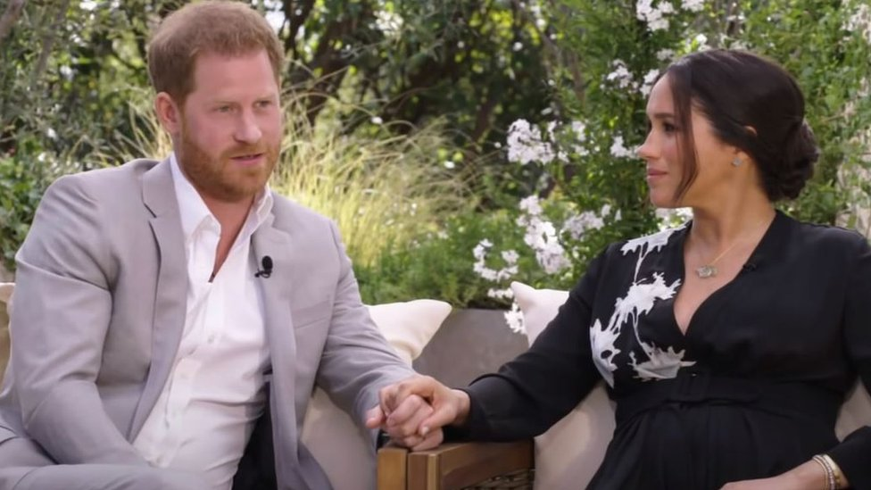 Prince Harry and Meghan, Duchess of Sussex, speaking to Oprah Winfrey
