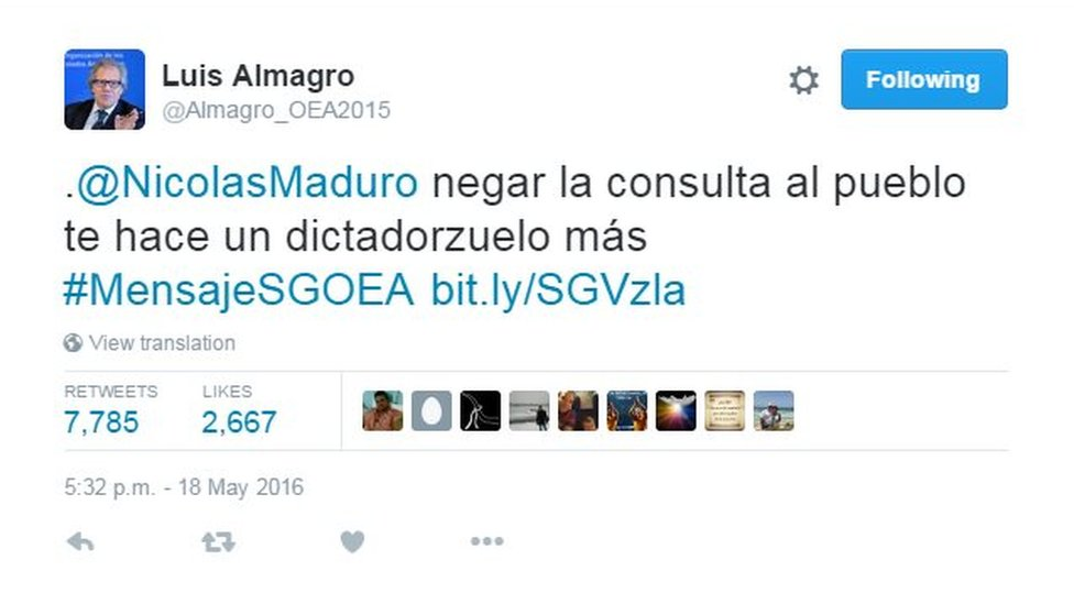 "A tweet by Mr Almagro which reads: ""@NicolasMaduro to deny the referendum to the people makes you just another petty dictator"""