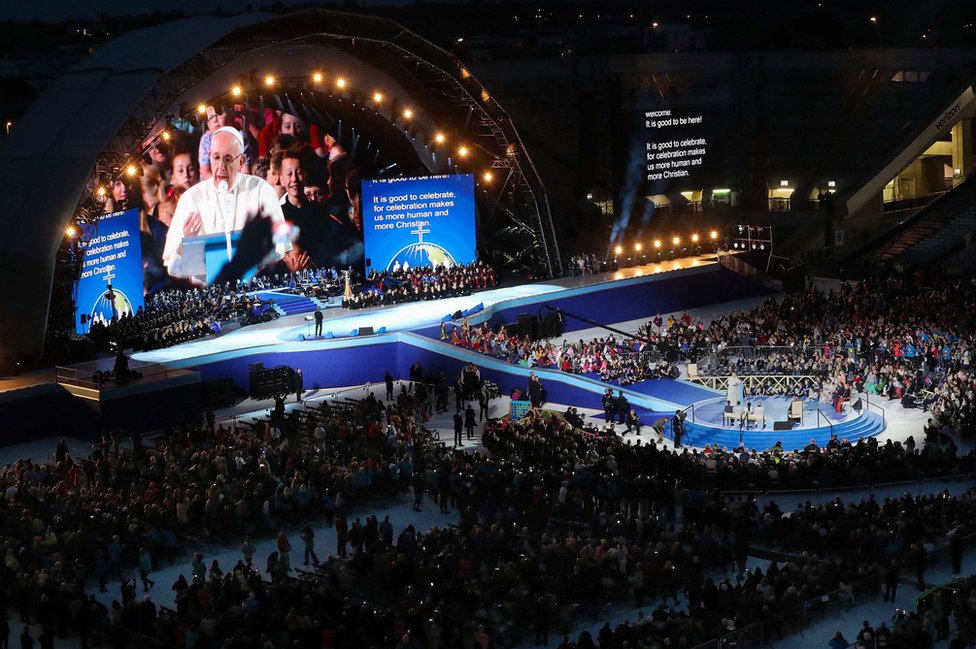 Pope Francis speaks to the thousands of people gathered at Dublin's Croke Park for the Festival of Families