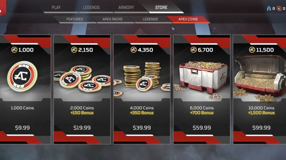 Image from the game showing how players can spend money
