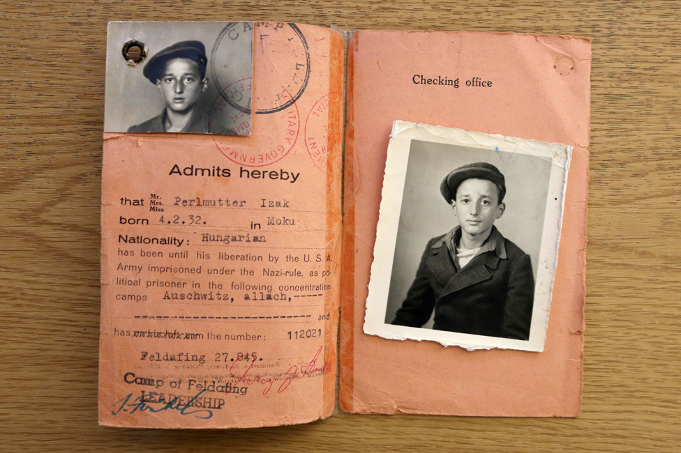 Ivor Perl's pink identify card