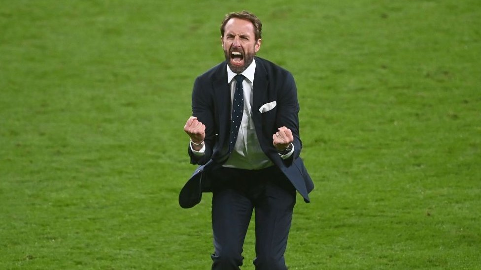Gareth Southgate celebrates England's win against Denmark in the Euro 2020 semifinals