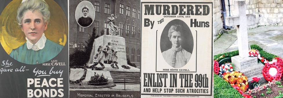 Two propaganda posters, a postcard showing her memorial in Brussels and her grave in Norwich