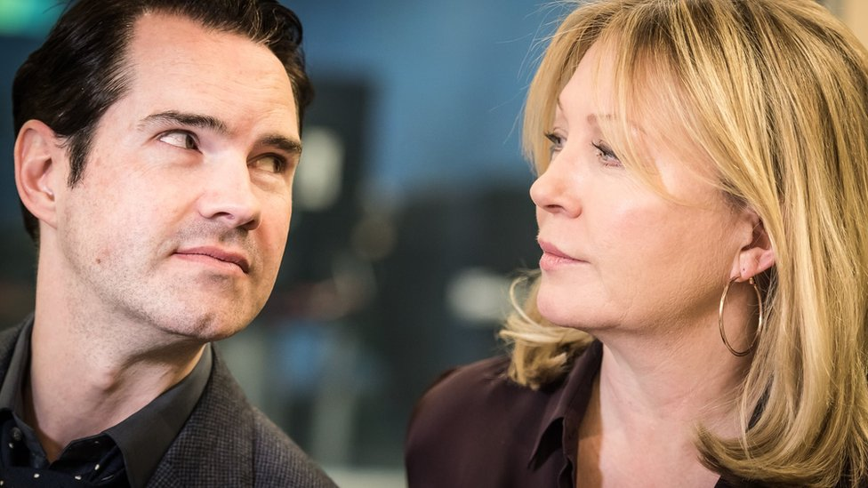 Jimmy Carr and Kirsty Young
