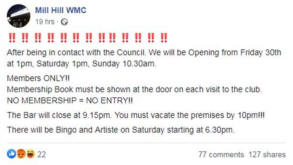 Facebook post from Mill Hill Working Men's Club