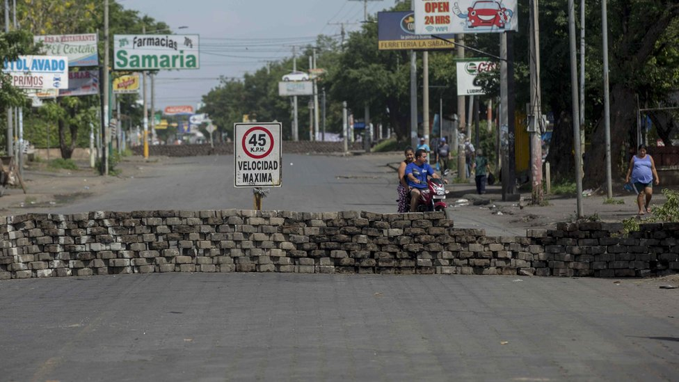 View of a barricade during a national strike in Managua, Nicaragua, 14 June 2018