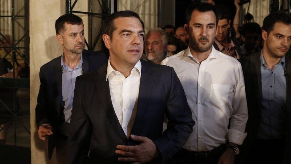 Outgoing Greek Prime Minister Alexis Tsipras (centre) in Athens. Photo: 7 July 2019