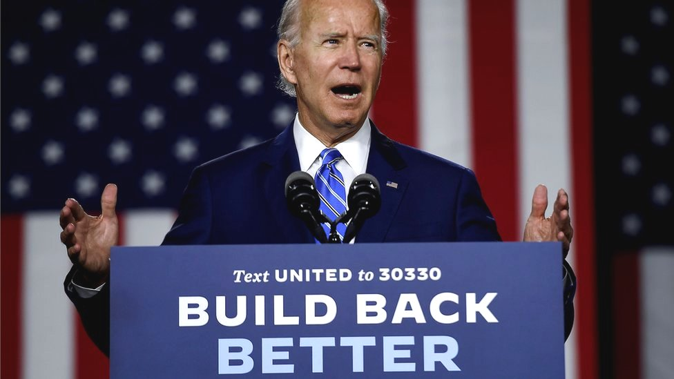 """Democratic presidential candidate and former Vice-President Joe Biden speaks at a """"Build Back Better"""" Clean Energy event in Delaware, 14 July 2020"""