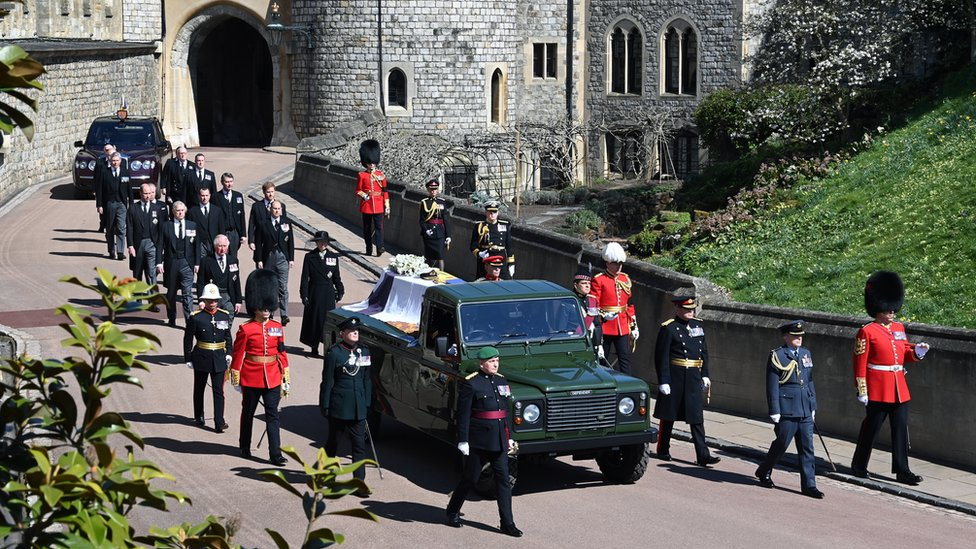 The Land Rover carrying the coffin of the Duke of Edinburgh in procession at Windsor Castle