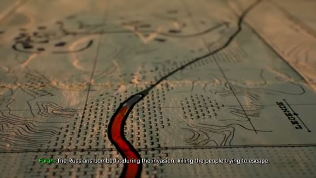 A map featuring subtitles with the words: 'The Russians bombed it during the invasion' in the latest Call of Duty game.