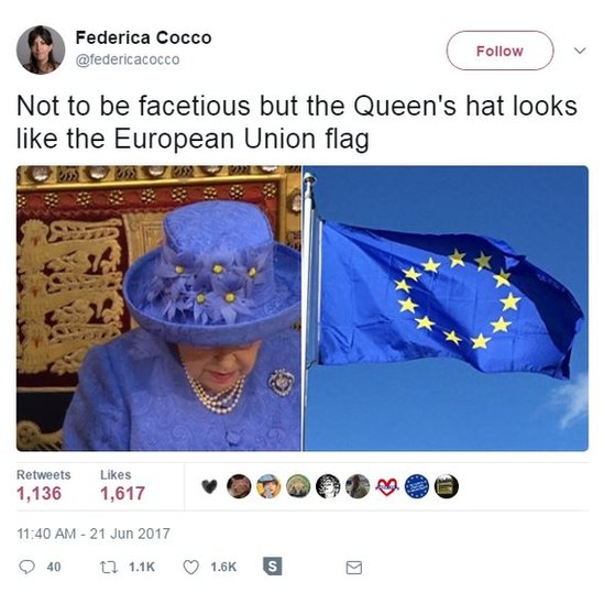 Not to be facetious but the Queen's hat looks like the European Union flag