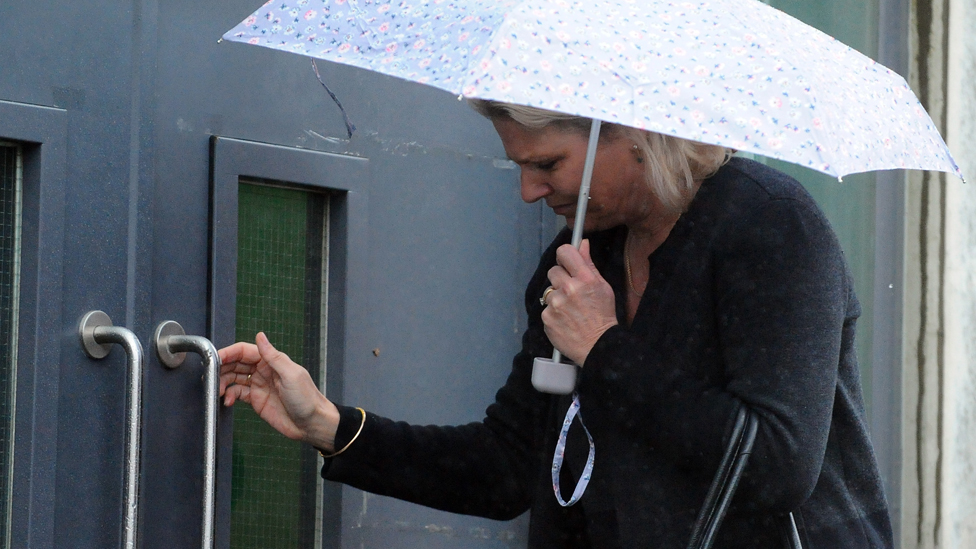 Dr Helen Webberley arriving at court in Merthyr on Monday