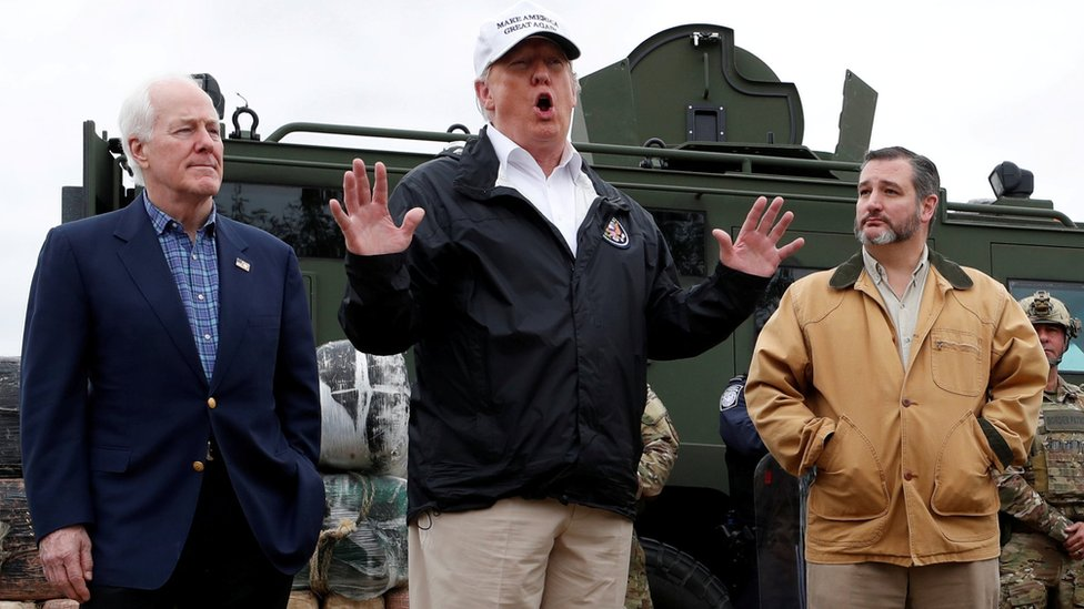 US President Donald Trump visits the US-Mexico border with border patrol agents in Texas, 10 January 2019