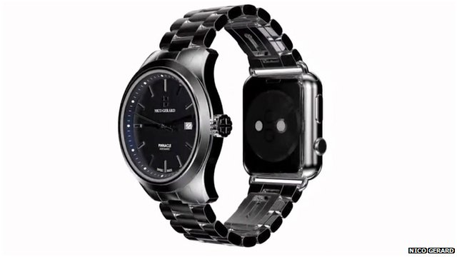A Nico Gerard watch that combines a traditional watch design with an Apple Watch