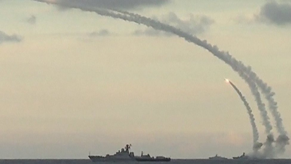 Picture released by Russia's Defence Ministry on November 20, 2015, shows Russian navy ships launching cruise missiles at targets in Syria, in the Caspian sea.