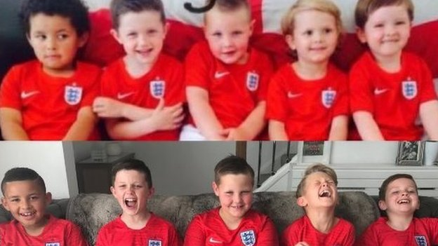 World Cup: England fans and eight-year-old best mates 'loving their third World Cup together'
