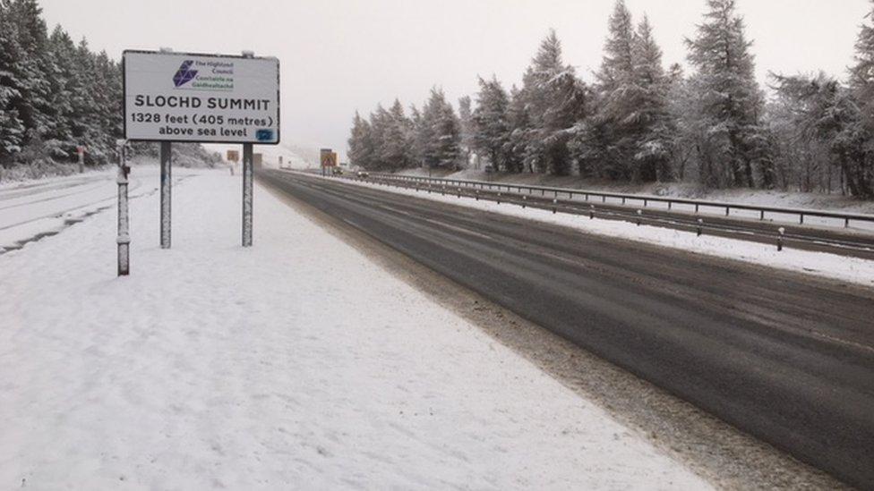 Snow at Slochd Summit near Inverness