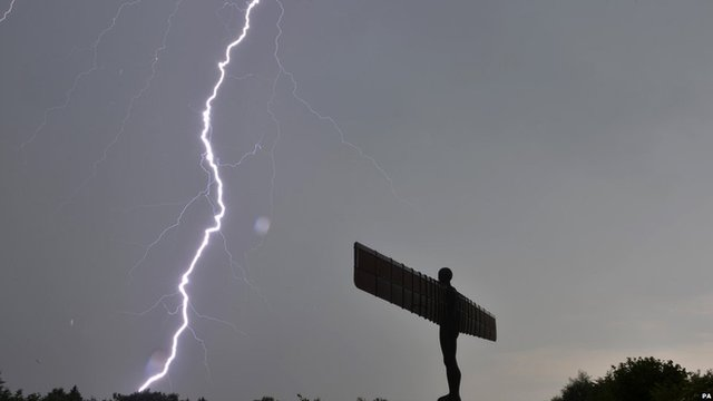 Lightning over the Angel of the North