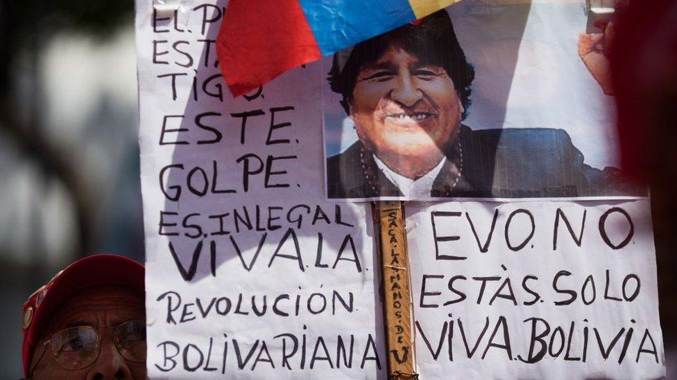Cartel de apoyo a Evo Morales en Caracas, Venezuela