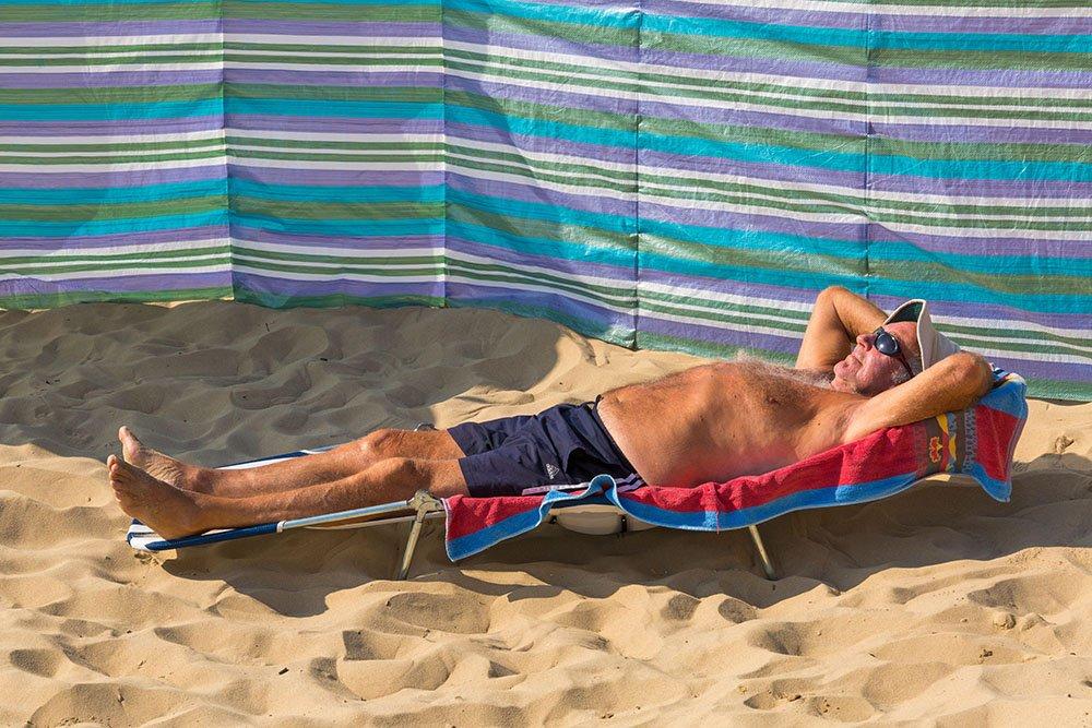Sunbathing on Bournemouth beach