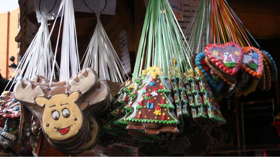 英國曼徹斯特年度聖誕市場上出售的薑餅