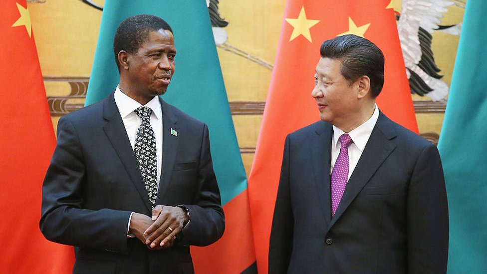 MARCH 30: Chinese President Xi Jinping (R) talks with Zambia's President Edgar Chagwa Lungu (L) during a signing ceremony at the Great Hall of the People on March 30, 2015
