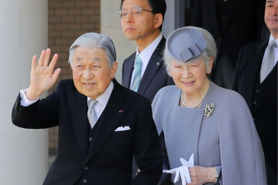 Japan's Emperor Akihito and Empress Michiko visit the mausoleum of Emperor Jimmu ahead of Akihito's planned abdication