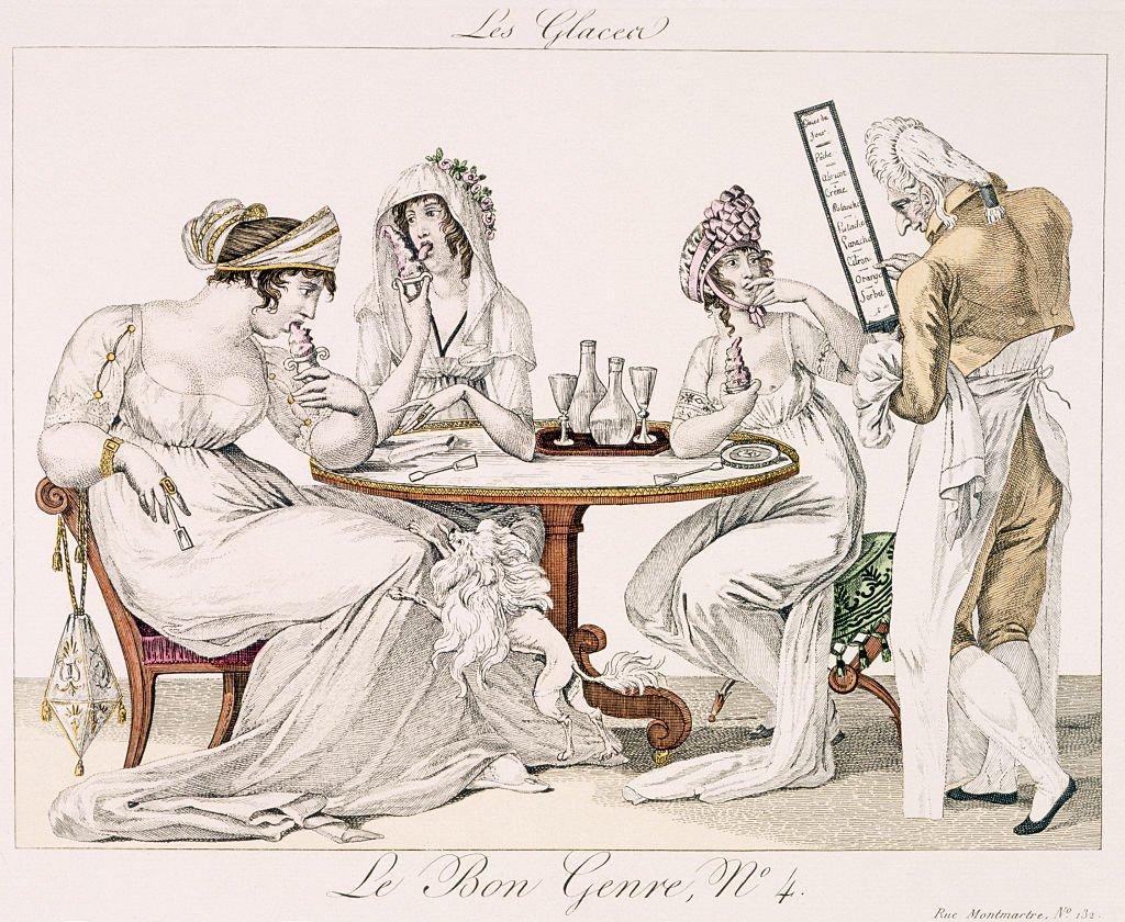 A 19th-century illustration showing Parisian ladies eating ice cream at an ice cream parlour