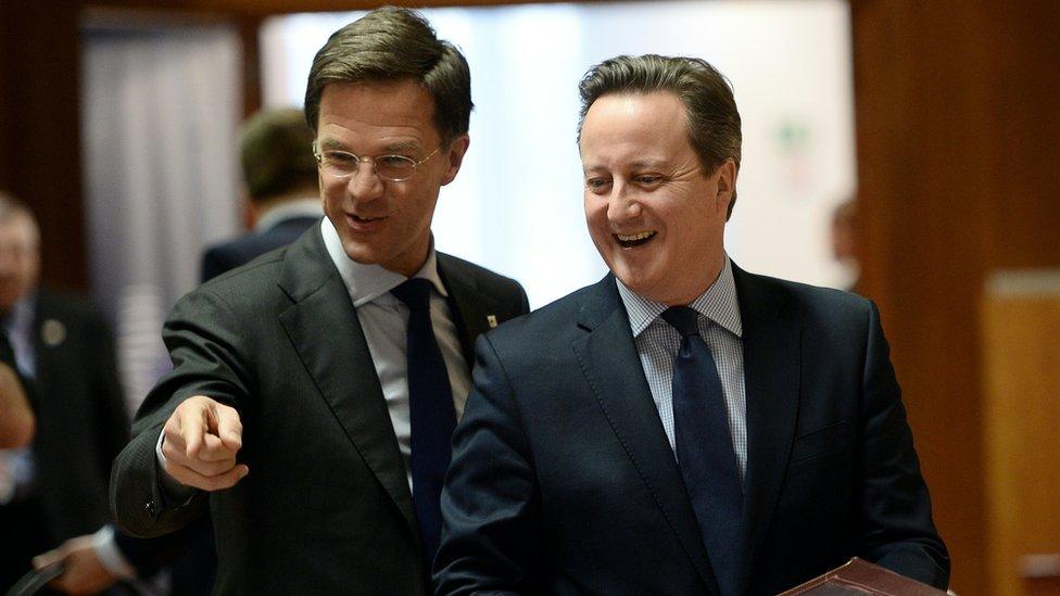 Dutch Prime Minister Mark Rutte with David Cameron in March 2016