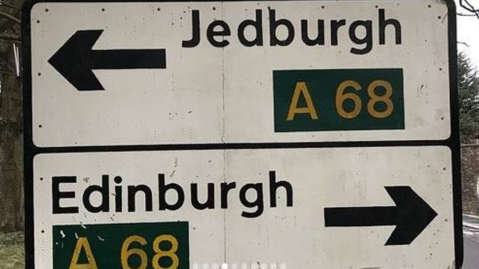 Clean Jedburgh and Edinburgh sign