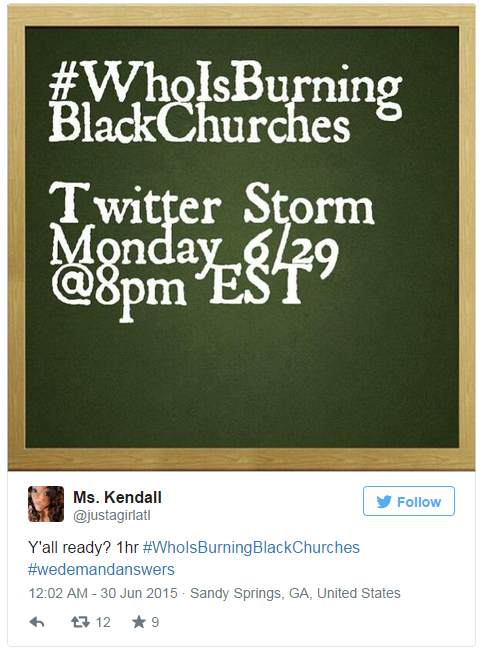 """The Twitter storm that got """"Who is Burning Black Churches"""" trending earlier this week was advertised with a simple image"""