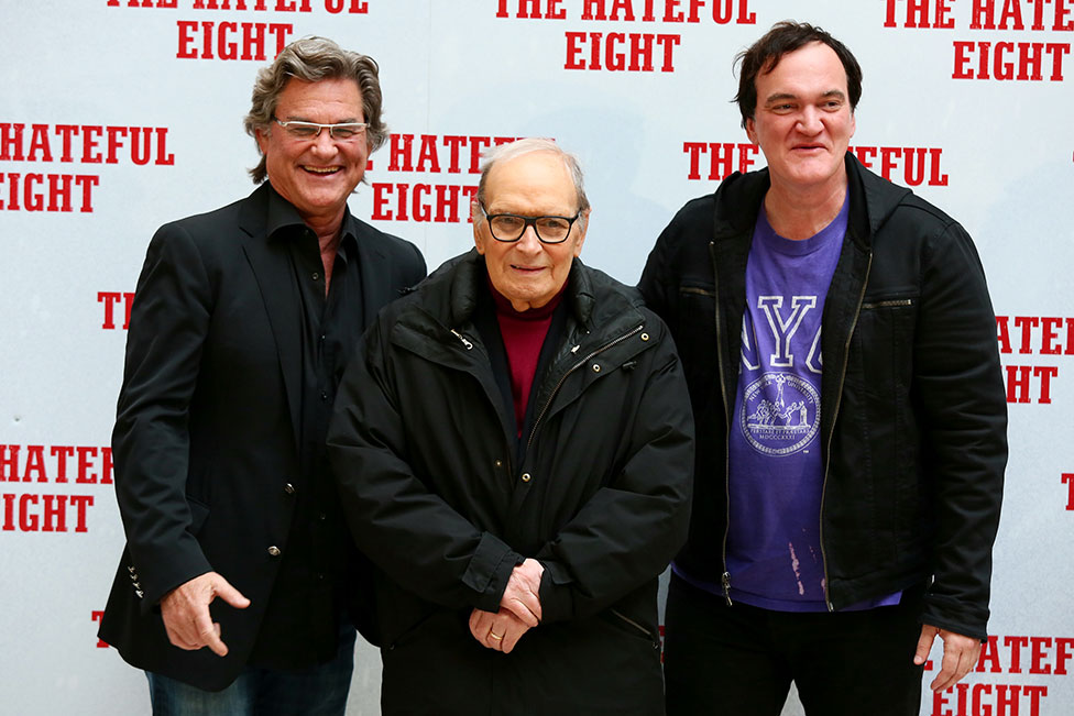 Kurt Russell, Ennio Morricone and Quentin Tarantino pose for a picture together